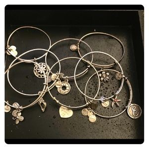 Alex and Ani collection of 8 bangles